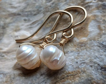 Baroque white freshwater pearl earrings - June birthstone - gold filled handmade gemstone wire wrapped jewelry - Spring fashion