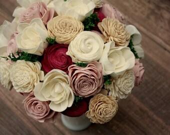 Dusty rose wedding bouquet, wine wooden flower bouquet, blush and marsala sola flowers, eco flowers, bridal bouquet, burgundy ecoflower