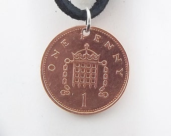 England Coin Necklace, 1 Penny, Coin Pendant, Leather Cord, Mens Necklace, Womens Necklace, Coin Jewelry, Birth Year, 1998