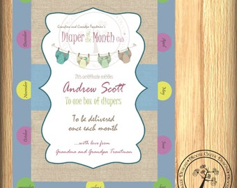 5x7 BOY Diaper of the Month Club Baby Shower New Baby Gift