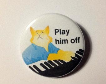 Keyboard cat Pinback Button Badge or Magnet 3.5cm