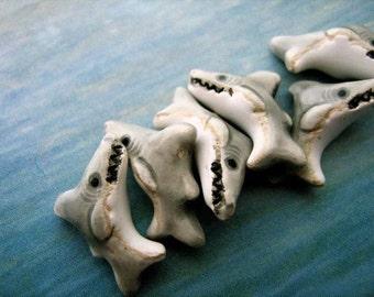 20 Tiny Shark Beads - CB62