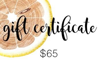 Gift Certificate - 65 Dollar Value - Lush Lemon Co.