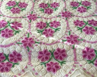 Vintage Chenille Bedspread Purple Hearts with Purple Flowers