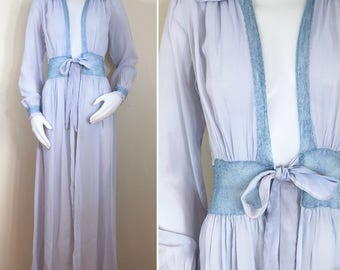 40s Lavender Powder Blue Lace Sheer Full Length Dressing Robe, XS