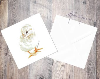 Easter Yellow Fluffy Chick Greeting Card