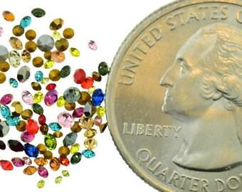 Swarovski Rhinestone Repair Mix Lot Kit Odd Colors Tiny Chaton Round Sizes 1.3mm-2mm Mixed 144 Piece 1 Gross Vintage Design