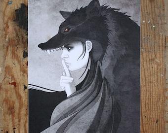Wolf Girl - A4 Digital Print - Illustration