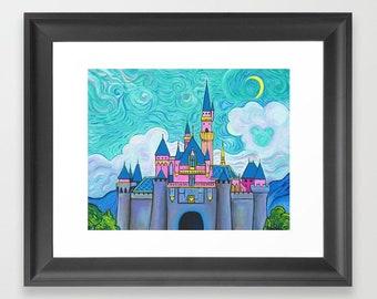 Disney Fine Art Giclee Print Sleeping Beauty Castle at Disneyland