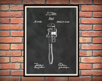 Patent 1869 Pipe Wrench Art Print - Poster - Plumber Wall Art - Plumber Tool - Garage Wall Art - Man Cave Wall Art - Gift for Him