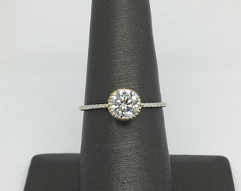 14K Two-Tone Gold CZ Solitaire Ring
