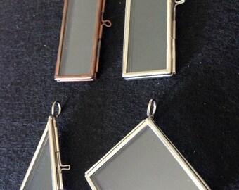 2 Glass Rectangle Hinged Locket Photo Picture Frame Pendant Diamond Shape Square  Triangle Brass