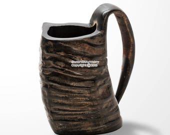 Viking Mug Water Buffalo Horn Handmade Functional Drinking Tankard
