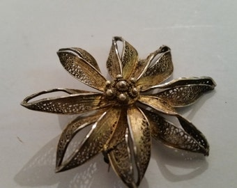 """Vintage Sterling Silver Brooch 1950's Silver Filigree Floral  Pin Gold Wash Over Silver Suit Pin Dress Pin coat Pin Made in Portugal 2"""" Dia"""