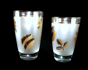 2 Libbey Tumblers Garden Foliage Frosted with Gold Leaves