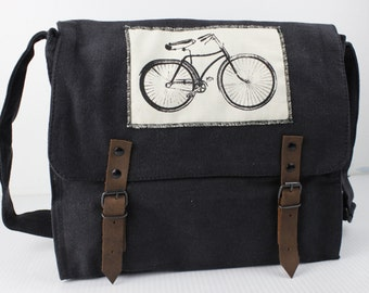 Canvas Army Medic Bag with Bicycle Patch