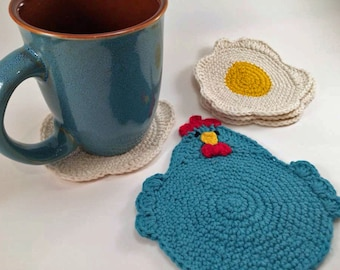 """Crochet Pattern for the """"Chicken or the Egg? Coaster Set."""" PDF file, instant download, permission to sell finished items."""