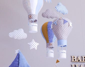 "HOT AIR BALLOON baby mobile for crib  ""Round-the-world travel"""