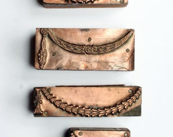 SET of NEOCLASSICAL Garland 1903-1953 Antique GERMAN Copper Letterpress Cut printing block Laurel
