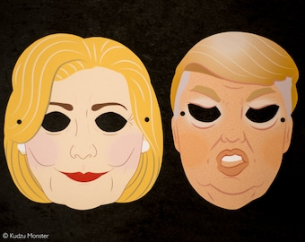 Printable Election masks creepy Hillary Clinton and Donald Trump halloween paper masks DIY instant download debate party election party