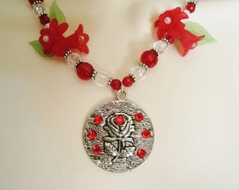 Red Rose Necklace, boho jewelry rose jewelry bohemian jewelry hippie jewelry gypsy necklace pin up necklace boho necklace bohemian necklace