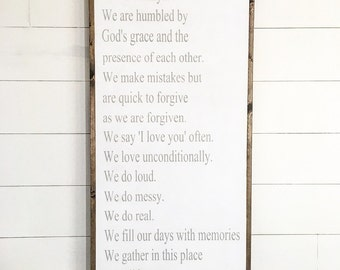 Family rules | gallery wall wood sign | 24x48 custom wood sign