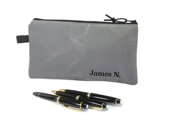 Plain Grey Zip Pouch, Canvas Pencil Case, Personalised Gift, Mens Pencil Bag