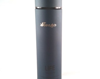 Blue Stainless Steel Vacuum Thermos Bottle, Tea Infuser Bottle, Fruit Infusions, Coffee, Loose Tea - Holds 15 oz