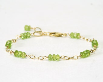 Genuine Peridot Bracelet - Dainty Gemstone Bracelet - Gold Filled Chain and Link Bracelet - Peridot Jewelry, August Birthstone