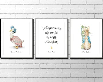 "Printable Peter Rabbit Nursery, Set of 3, Peter Rabbit, Jemima Puddleduck, Instant Download, Peter Rabbit Art, Beatrix Potter,  8x10"""