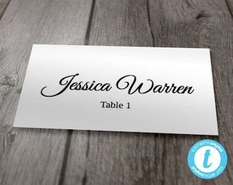 Wedding Place Card Template, Flat Style Place Cards, Printable Calligraphy Cards, Instant Download, Flat Style Avery 8871, Editable Template