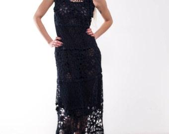 Crochet navy dress maxi navy dress maxi sundress blue lacy sundress Handmade linen Dress Crochet Beachwear dress evening dark blue gown