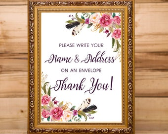 Write Your Address On An Envelope Wedding Sign, Envelope Bridal Shower Sign, Baby Shower Envelope Sign, Address On Envelope, Boho Floral