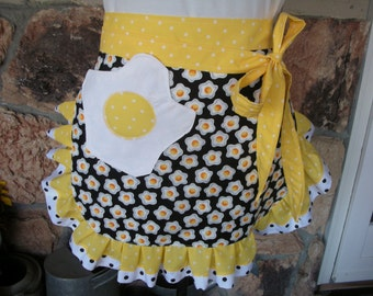 Womens Aprons - Aprons with Egg Fabric - Sunny Side Up Aprons - Diner Egg Aprons - Yellow Diner Aprons - Etsy Aprons - Annies Attic Aprons