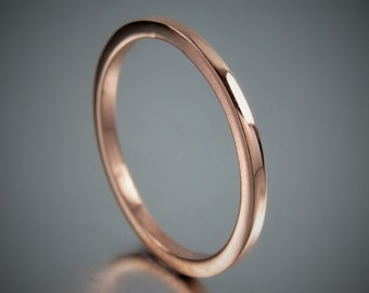 SOLID 14K Simple Rose Gold Engagement Ring, 14K Solid Rose Gold Ring, Square Wire Ring, Promise Rings, Wedding Rings