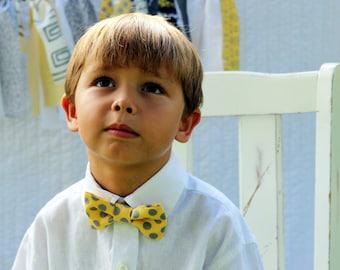 Boys Yellow Gray Bow Tie - boys yellow bow tie - gray dot tie - baby bow tie - bow tie for toddler - summer tie - wedding tie - smash cake