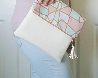 Pink Teal White Clutch Purse, Large Clutch Purse, Clutch Bag, White Faux Leather, Leather Clutch, Wristlet Clutch, Pastel Print, Pastel Bag