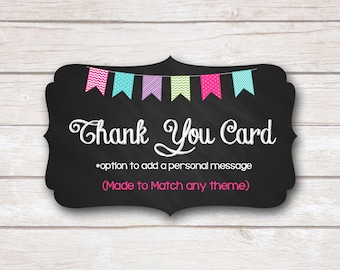 Thank You Card. Made to Match. Party Printable.