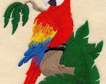 Baby Macaw Embroidered Flour Sack Hand/Dish Towel