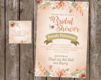 baby shower bridal shower invitation  heavy cardstock or digital party banner tags model1