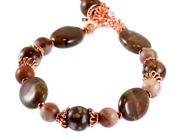 Jasper and Copper Bracelet, Fall Colors, Orbicular Jasper, Red Jasper, Gemstone Bracelet