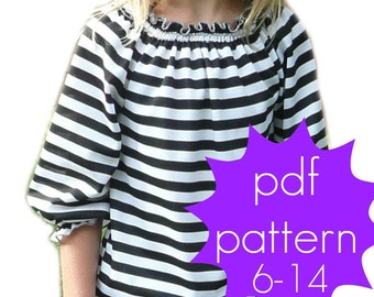 Knit Peasant Tee PDF Sewing Pattern - short, 3/4, long sleeve options - doll (preemie) and nb - 5t or 6 - 14