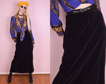 80s Black Velvet High Waisted Skirt/ 28.5 Waist/ 1980s