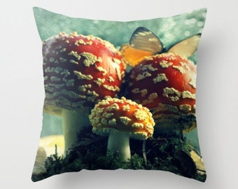 Amanita Mushroom Pillow Butterfly On Amanita Red Mushroom Mycology Woodland Print Forest Scene Woodland Finds