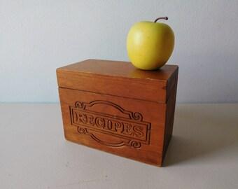 Vintage wood recipe box Wooden recipe holder