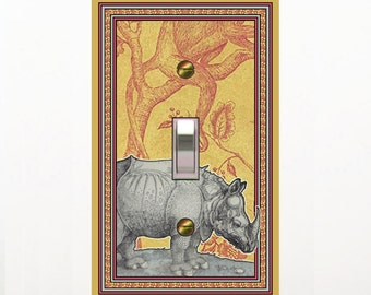 0252A - Rhino on African Cloth switch plate - -mrs butler light switchplates -choose sizes/prices from drop down box-ck out 0252b
