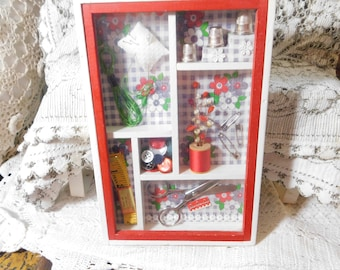 Sewing Shadow Box Number 2 Shadow Box, Sewing,  Diorama, Vintage Home Decor, Gift for seamstress, Use for a prop,  :)S
