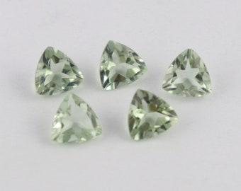 5 Pcs Natural Green Amethyst Faceted Gemstone,14 Cts,10x10 mm Trillion Shape, Normal Cut Gemstone, Jewelry making,Green Amethyst Gemstone