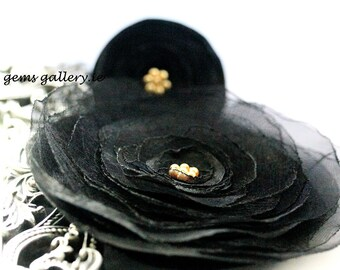 Black Flowers, Black Brooch and Ring Wedding Set