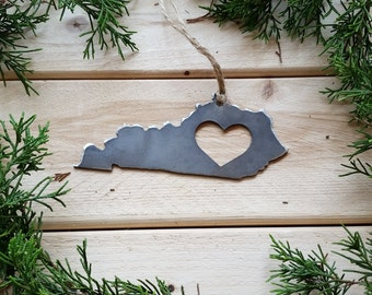 Kentucky State Christmas Ornament Rustic Raw Steel Personalize Engrave Love KY Metal Holiday Decoration Stocking Stuffer House Warming Gift